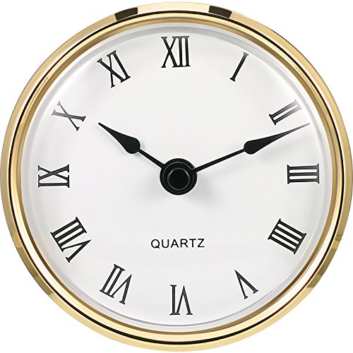 Hicarer 3-1/8 Inch (80 mm) Quartz Clock Fit-up/Insert with Roman Numeral, Quartz Movement (Gold Rim) ()