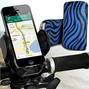 Alcatel One Touch M Pop Protección Premium de Zebra PU ficha de extracción Slip Cord En cubierta de bolsa Pocket Skin rápida Con universal de bicicletas Bike Mount Holder Soporte horquilla del soporte del manillar de soporte 360 ??grados de rotación Azul y Negro por Spyrox
