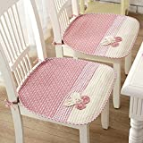 Lovely Flower Chair Seat Pads Thin Cotton Chair Mats for Dining Office Home Car Chairs Nonslip Decorative Chair Pads with Ties (45 x 45cm / 17.7'' x 17.7'') Pink Pack of 2