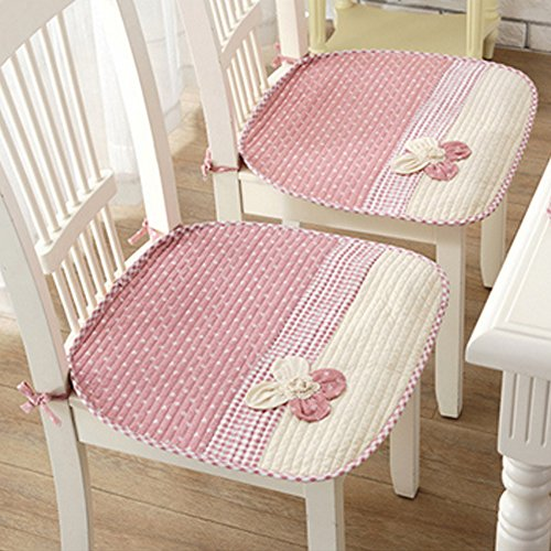 Lovely Flower Chair Seat Pads Thin Cotton Chair Mats for Dining Office Home Car Chairs Nonslip Decorative Chair Pads with Ties (45 x 45cm / 17.7'' x 17.7'') Pink Pack of 2 by Cozyhouse