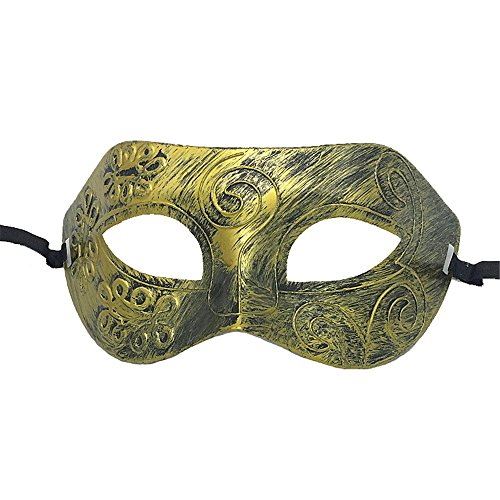 Mardi Gras Party Masquerade Mask,Halloween mask Retro Rome Fighter Makeup Prom mask Jazz Party Men and Women mask Eye mask Gold Prom Masks]()