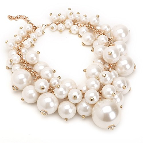 White Pearl Ball Cluster Necklace (Fashion White Chain Simulated Pearl Resin Bead Ball Crystal Choker Cluster Bib Necklace)