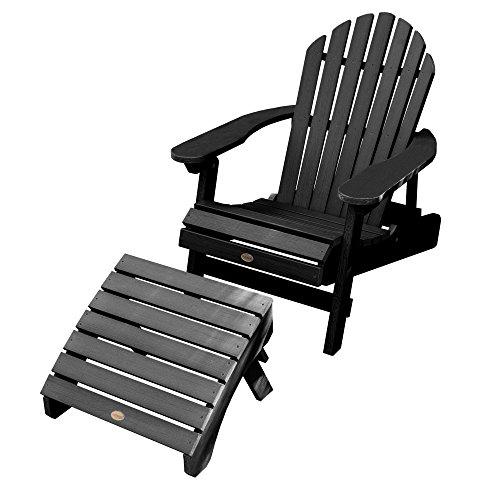 Hamilton Folding & Reclining Adirondack Chair with Folding Adirondack Ottoman, Black