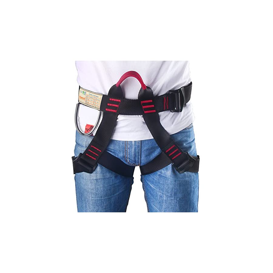 Climbing Harness, Oumers Safe Seat Belts for Mountaineering Tree Climbing Outdoor Training Caving Rock Climbing Rappelling Equip Half Body Guide Harness Protect Waist Safety Harness for Women Man