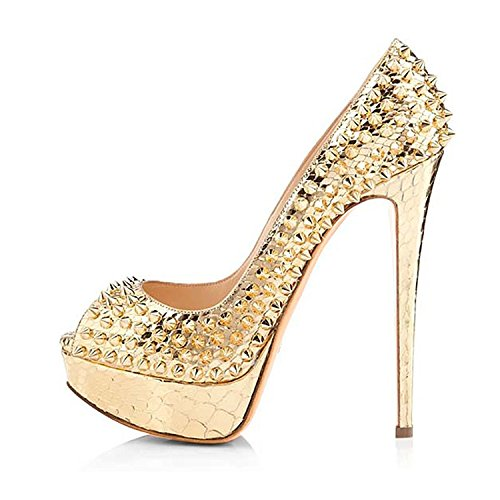 Colnsky Women Studded Cross Strap Peep Toe Platform Colorful Bling Sweet Party Sandals Prom Gold15 B(M) US New Style