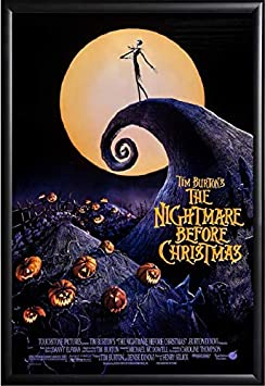 Nightmare Before Christmas Movie Poster US Version Framed Black Size 24×36