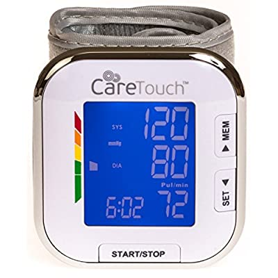 Care Touch Fully Automatic Wrist Blood Pressure Cuff Monitor – Platinum Series, 5.5″ – 8.5″ Cuff Size- Batteries Included