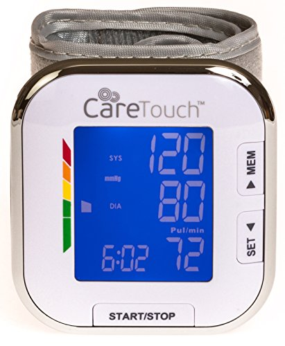 Pressure Monitor Inflate Blood (Care Touch Fully Automatic Wrist Blood Pressure Cuff Monitor - Platinum Series, 5.5
