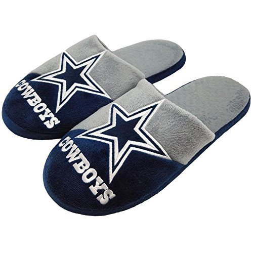 Forever Collectibles Officially Licensed NFL Team Logo Color Block Slide Style Slippers Assorted Teams and Sizes (Large (Shoe Size 11-12), Dallas Cowboys)
