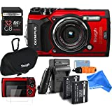 Olympus TG-5 Waterproof ALL YOU NEED RUGGED Digital Camera BUNDLE + DigtalAndMore Micro Fiber Lens Cleaning Cloth (RED, 32GB SD CARD)