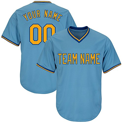 - DEHUI Customized Men's Light Blue V-Neck Replica Stripe Baseball Jersey with Embroidered Team Name and Numbers,Yellow-Royal Size 3XL
