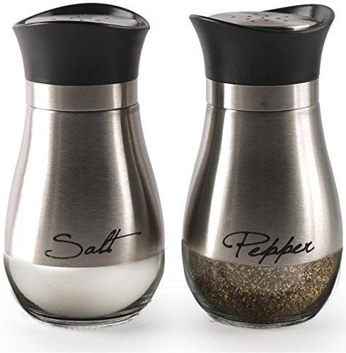 Circleware Cafe Contempo Silver and Glass Salt and Pepper Shakers, Set of 2, 4.42 ounce each
