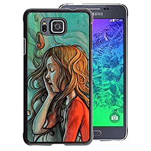 A-type Arte & diseño plástico duro Fundas Cover Cubre Hard Case Cover para Samsung ALPHA G850 (Painting Sketch Mint Red Green Redhead)