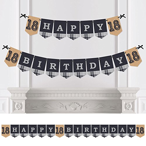 Big Dot of Happiness 18th Milestone Birthday - Time to Adult - Birthday Party Bunting Banner - Vintage Party Decorations - Happy Birthday