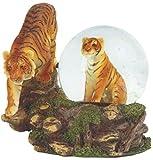 "George S. Chen Imports 2 Bengal Tigers Snow Globe, 4.25"", Orange"