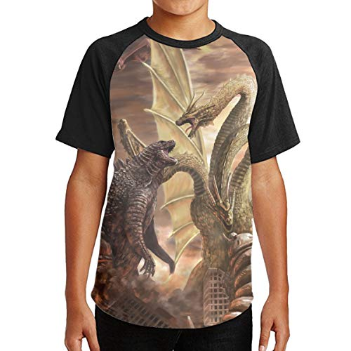FOTNNRFK God-Zilla Youth Cotton Print Tees, Boy&Girl Funny T-Shirt M