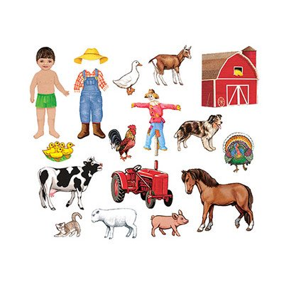 Little Folk Visuals My Farm Friends Precut Flannel/Felt Board Figures, 18 Pieces Add-On Set