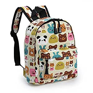 Zicac Childrens' Cute Canvas School Backpacks Mini Rucksack School Bag (S, Beige)