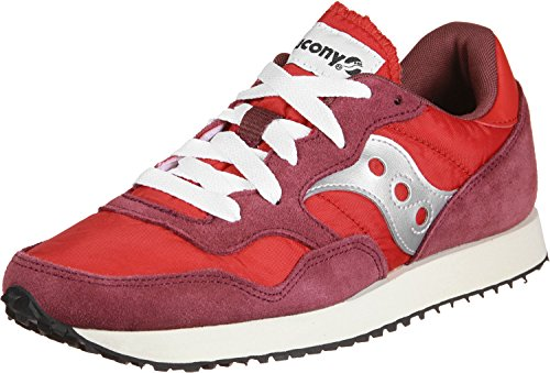 Saucony Mens DXN Vintage S70369-7 Suede Trainers Red Silver