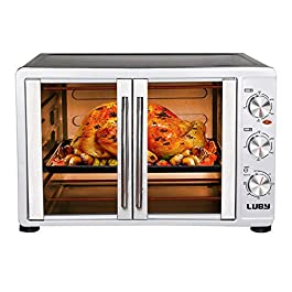 """Luby Large Toaster Oven Countertop French Door Designed, 18 Slices, 14"""" pizza, 20lb Turkey, Silver"""