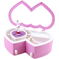 Pueri Ballerina Musical Jewelry Box Double Hearts Dancing Girl Musical Jewelry Storage Box