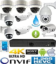 USG Business Grade 9 Camera H.265 Sony DSP 5MP Ultra 4K IP PoE Security System: 7x 5MP 2.8-12mm + 1x 2MP 5-50mm License Plate Capture + 1x 2MP Pan Tilt Zoom Speed Dome Cameras + 1x 5MP NVR + 1x 6TB HD