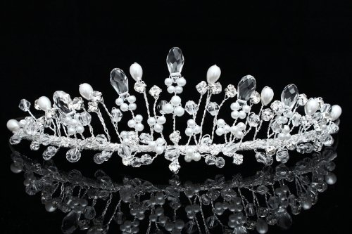 Handmade Rhinestone Crystal Flower Beads Pearl Bridal Wedding Tiara Crown
