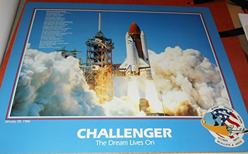 2 Space Shuttle Glossy Poster Prints Challenger Lift Off The Dream Lives On with Ode to the Challenger Seven & American Heroes Crew of STS-51- L Both 16 inches x 20 inches; Plus get 2 Mission Patches