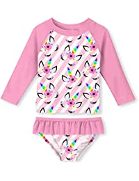 4666e6909 Little Girls Two Pieces Rash Guard Swimsuit Set Long Sleeve Print Bikini  Bathing Suit UPF50+ Beach