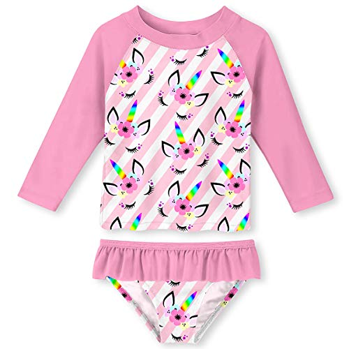 Children Girl 2-Piece Rash Guard Set Unicorn Smile Pink Swimsuits 3D Print Quick Drying Bikini Suit Stretchy Neckline 2T