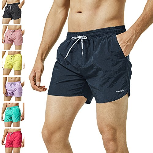 MaaMgic Mens Slim Fit Shorts Quick Dry Swim Trunks with Mesh Lining Male Bathing Suits,Large(Waist:33