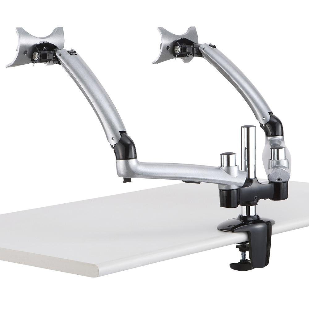 Mount-It! MI-4PC321A Dual Articulating, Height Adjustable, Tilting, Arm Desk Mount for 2 Apple iMacs and Other Monitors 24 to 27 Inches, VESA 75x75 and 100x100, C-clamp, Silver