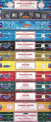 Set of 12 Nag Champa, Super Hit, Aastha, Buddha Blessing, Aura Cleansing, Arabian Musk, Chakra, Dragon Fire, Prana, Tantra, Sandalwood, Patchouli Forest by Satya