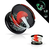 Dynamique Pair Pyrex Glass Double Flared Plugs Black Back with Red and White Mushroom on Glow in Dark Sparkles