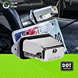 Surface-Mount LED Trailer License Plate Lights [DOT/SAE Certified] [IP67 Waterproof Rated] [Ultra-Durable] License Tags for Trailers, RVs, Trucks & Boats - Chrome Housing