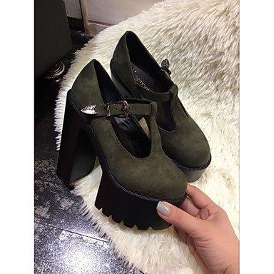 4in ggx us6 Casual Heels 3 green Comfort cn36 3 Women's 3in uk4 eu36 Comfort Black Green PU Spring LvYuan gOqdwg