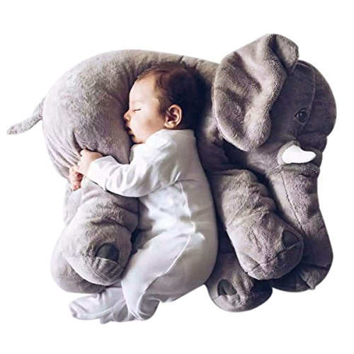 LOVOUS Big Stuffed Elephant Plush Doll Pillow, Grey