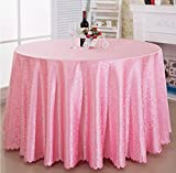 European style round tablecloth restaurant restaurant home meeting wedding thick round tablecloth ( Color : Pink , Size : 2.8m )