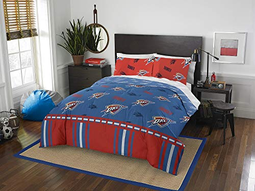 HNU NBA OKC Thunder Twin Comforter Set,Blue Red Bedding Set,Cool Modern Print Boys Sports Fan Frenzy Contemporary All Over Printed Fancy Cozy Basketball Oklahoma Reversible Machine Washable