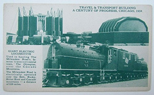 VINTAGE 1934 POSTCARD ELECTRIC LOCOMOTIVE MILWAUKEE RAILROAD CHICAGO EXHIBITION