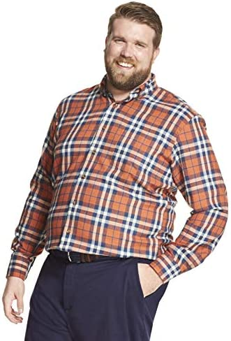 IZOD Mens Big and Tall Stratton Long Sleeve Button Down Check Flannel Shirt