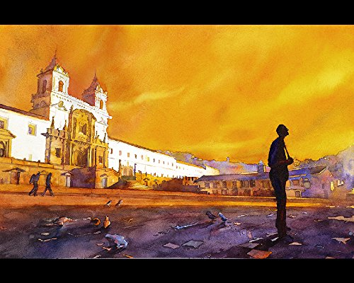 Fine art watercolor painting of church rising over colonial buildings in El Centro of downtown Quito, Ecuador at sunset (print)
