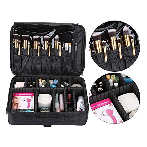 Hotrose Professhional Large Space Makeup Brush Bag - Cosmetic Artist Organizer Kit - Handle Shoulder Bag - Travel Box (Large) by Hotrose® (Image #1)