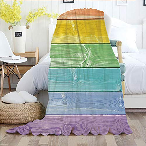 Pastel,Throw Blankets,Flannel Plush Velvety Super Soft Cozy Warm with/Wooden Planks in Rainbow Colors Rural Rustic Home Cottage Theme Summer Shades Print Decorative/Printed Pattern(60