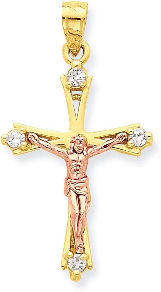 10K Two-Tone Gold Passion Crucifix Charm Pendant
