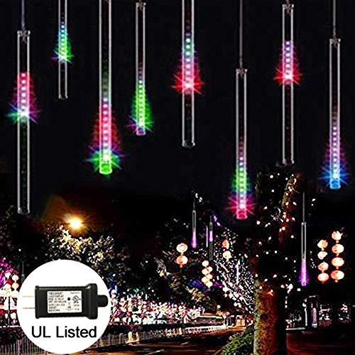Adecorty UL Certified Falling Rain Lights, Meteor Shower Lights 30cm 8 Tube 144 LED Snow Falling Raindrop Lights, Cascading Icicle Lights for Xmas Tree Holiday Party Wedding Home Decor (Multi Color)
