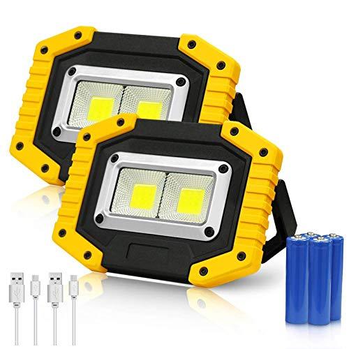 WOERD LED Arbeitsstrahler Baustrahler, Strahler Akku Flutlicht Wiederaufladbare, Tragbares Strahler IP65 Wasserdicht…