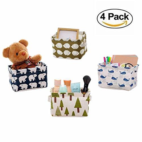 4 PCS Foldable Canvas Storage Bins Basket Organizers for Baby toys, Makeup, Books, Home Décor