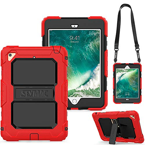 SEYMAC iPad Mini 4 Case, Three Layer Heavy Duty Drop Proof Full-Body Protective Rugged Hard Case with Kickstand & Removable Shoulder Strap Compatible with iPad Mini 4th Gen [a1538,a1550] (Red/Black)