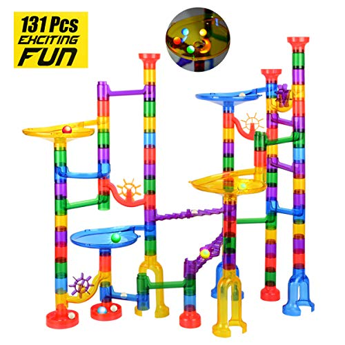 Marble Run Sets for Kids-Including 4 Flashing Plastic beads Marble Race Tracks Marble Game STEM Building Toy Gift for 4 5 6 + Year Old Boys Girls(131Pcs marble run set )
